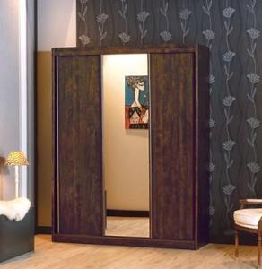 ארון בגדים עם 3 דלתות הזזה ומראה דגם טנריף בגוון אגס חום
