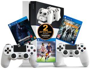 Sony PS4 500GB+אחריות יבואן רשמי לשנתיים+2 שלטים+משחק לבחירה