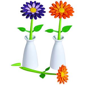 עט פרח במעמד אגרטל לבן