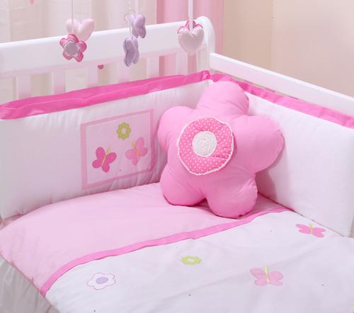 סט מצעים פרפרים למיטת תינוק