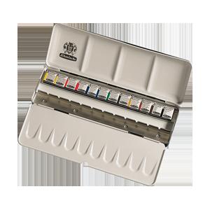 שמינקה | סט צבעי מים אקדמי 12 חצאי קוביה + 12 מקומות ריקים בקופסת מתכת