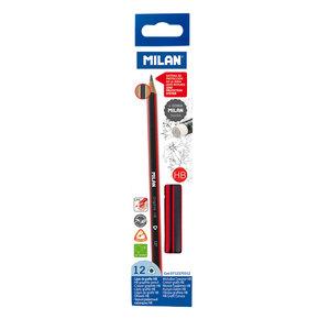 12 עפרונות בצורת משולש עם מחק MILAN
