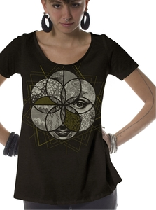 PlamaLab חולצה קצרה בגזרה מיוחדת לנשים - Sacred Geo Dark Brown Plazmalab