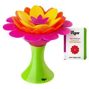 סט 3 משפכים בצורת פרח Vigar
