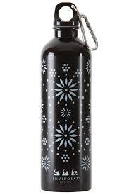 כוס טרמית ספורטיבית בצבע שחור פרחים לבנים ENVIROSAX
