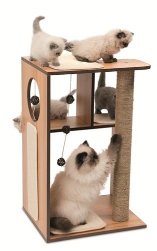 ריהוט גירוד לחתול V BOX גדול, צבע אגוז 40x78x50 cm