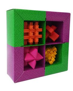 סט 4 מיני משחקי חשיבה פאזל Wooden Puzzle