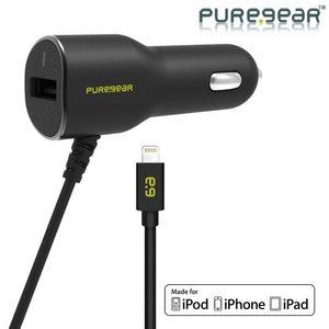 מטען רכב לאייפון 6/6+ PureGear 3.4A/17W Dual Super שחור