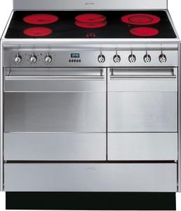 """תנור אפיה משולב דו תאי חשמל 90 ס""""מ סמג SMEG דגם: SUK92CMX5"""
