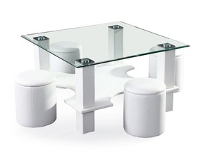 שולחן זכוכית ייחודי לסלון מבית Homax, דגם פאלרמו, המשלב שולחן זכוכית בעיצוב ייחודי ו-4 כסאות-הדומים אינטגרליים. עכשיו, ב-599 ₪ בלבד!