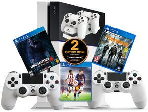 Sony PS4 1TB+אחריות יבואן לשנתיים+2 שלטים+משחק לבחירה+מעמד שולחני