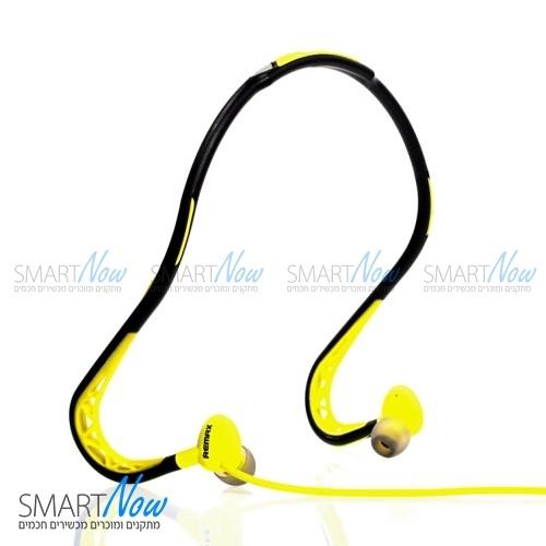 אוזניות ספורט מקצועיות לריצה עמיד בזיעה מבית REMAX בצבע צהוב