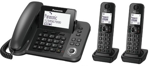 מודיעין טלפון אלחוטי + 2 שלוחות נוספות משולב עם שולחני Panasonic KX-TGF313 FG-39