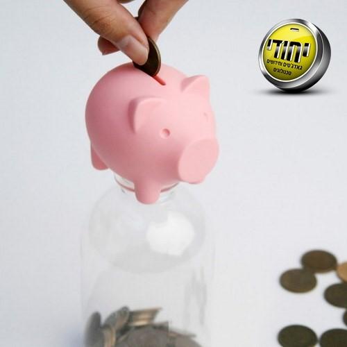 מיני חזרזיר הופך בקבוק לקופת חיסכון למטבעות שקלים