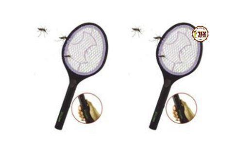"""2 יחידות ב89 ש""""ח. קטלן יתושים/מטקה ליתושים מחבט -""""באג שוקר"""" + סוללות במתנה"""