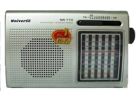 מערכת שמע ניידת טרנזיסטור רב גלים עם פנס Universe NR-770
