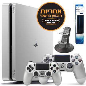 PS4 SLIM Silver Edition 500GB יבואן רשמי+שלט נוסף כסוף+מתנה Sony