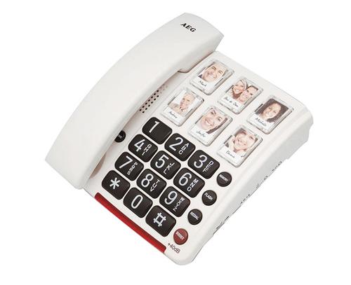 טלפון לכבדי שמיעה שולחני AEG דגם 40 | טלפון מוגבר לכבדי שמיעה עם תמונות לכבדי ראיה 40db | טלפון שולחני מתקדם למבוגרים | טלפון חוטי עם תמונות