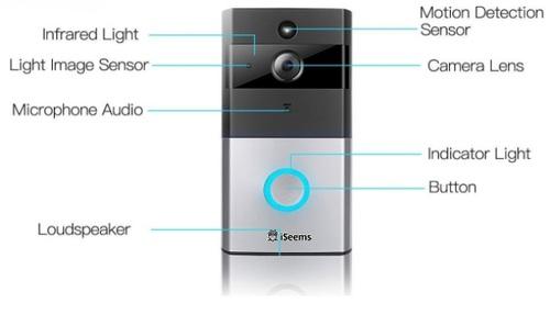 מודיעין פעמון דלת Wi-Fi מצלמת HD ואינטרקום iSeems - iSeems - מצלמות אבטחה YW-07