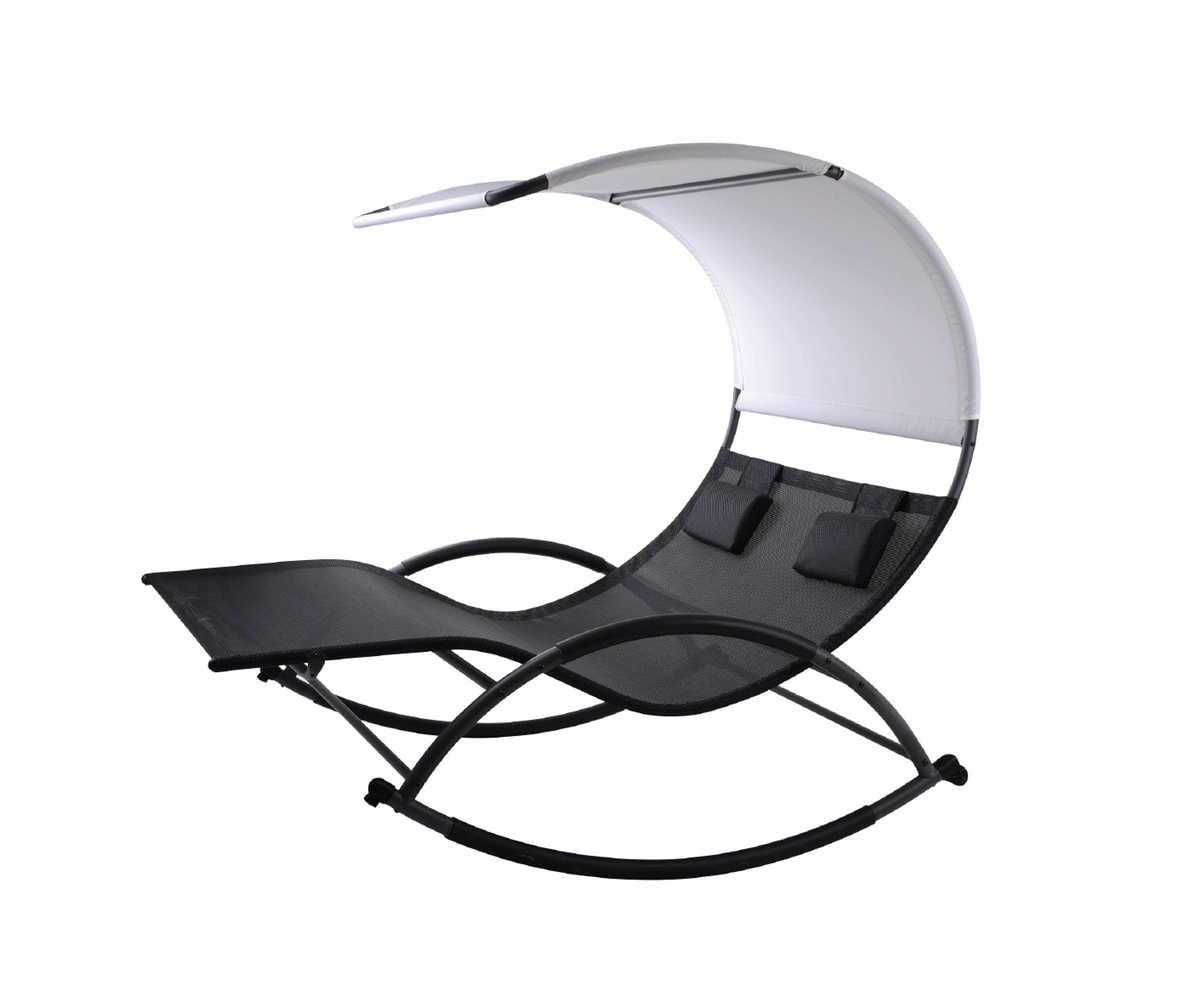 כסא נדנדה זוגי שחור יוקרתי של קמפטאון