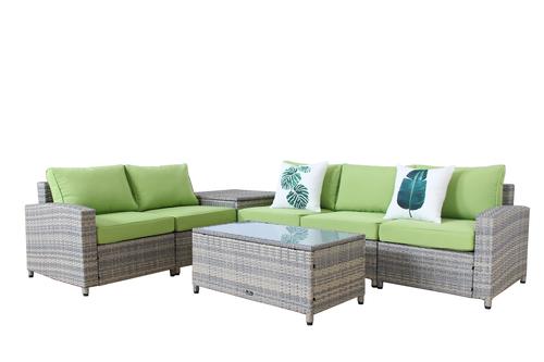 ... BroyerK 7-piece beige-grey Outdoor Rattan Patio Furniture Set with  storage box ... - Outdoor Rattan Sofapatio Furniture Storage Box
