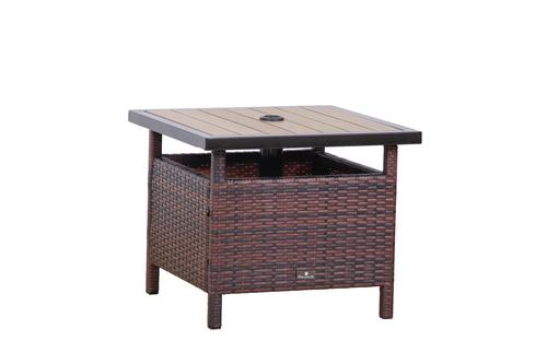 ... BroyerK Rattan Wood Patio Umbrella Stand/ Outdoor Table ...