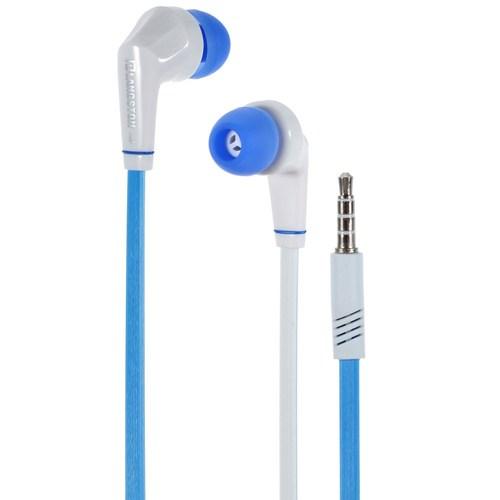 אוזניות כבל שטוח כחול JD88 לאייפון iPhone סמסונג Samsung עם מיקרופון מבית Langston