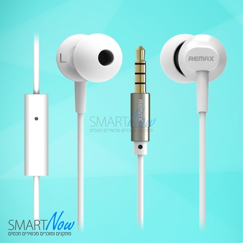 אוזניות סטריאו איכותיות לסמארטפון עם מיקרופון מדגם RM-501 מבית REMAX בצבע לבן