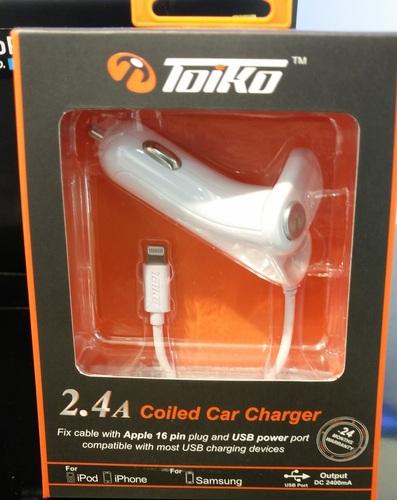 מטען לרכב iphone 5,5s,6,6s 2.4A  של חברת TOIKO שנתיים אחריות.