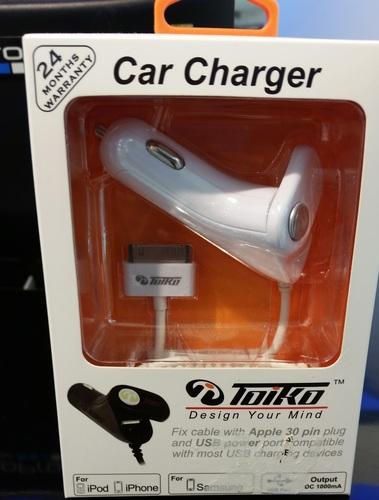 מטען לרכב iphone 4,4s 2.4A  של חברת TOIKO שנתיים אחריות.